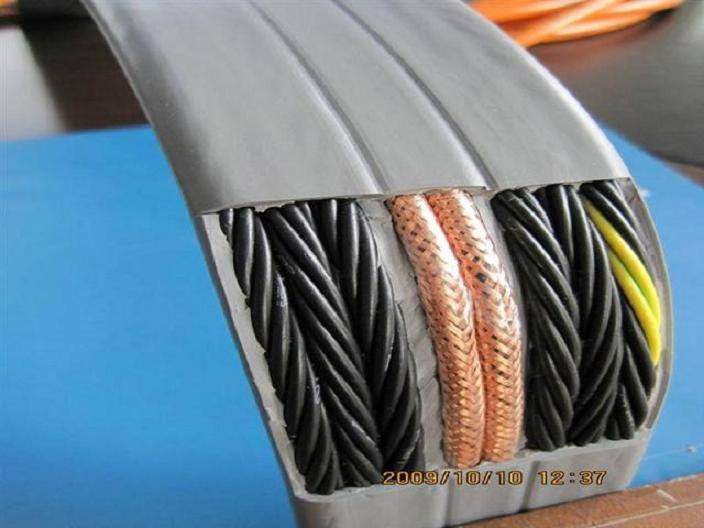 Elevator Travelling Cable : Flat traveling cable with video for elevator tvvb