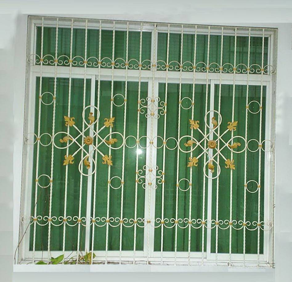 Beautiful window grill quanzhou forsun wrought iron co for Window design metal