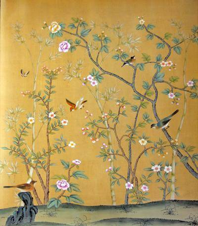 Chinese hand painted wallpaper chinoiserie 20 la for Chinese mural wallpaper