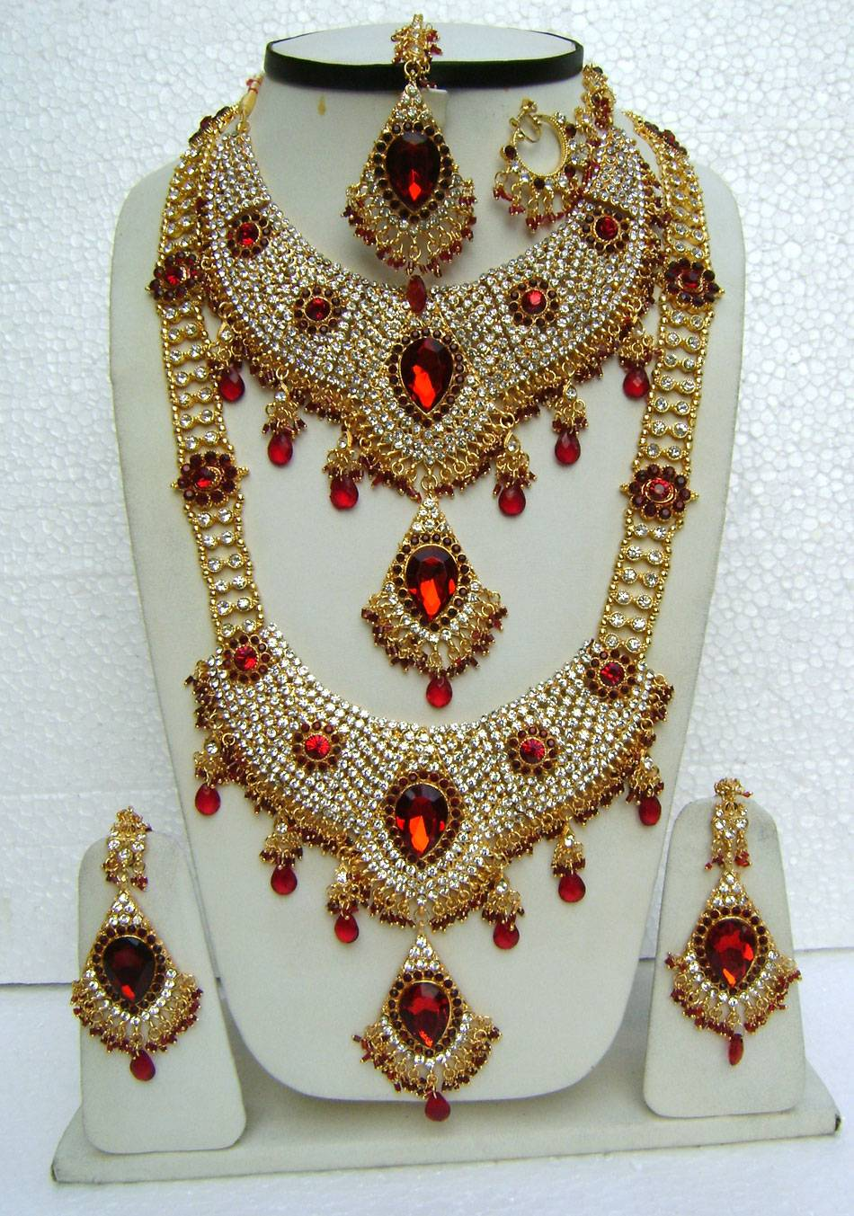 AMERICAN DIAMOND JEWELRY SAREES PARTYWEAR KUNDAN NECKLACE WEDDING JEWELLERY SETS