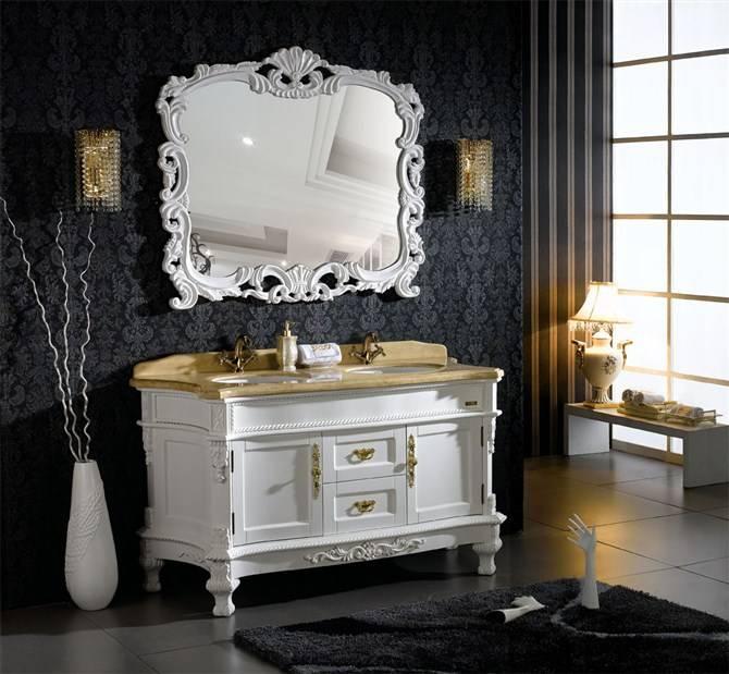 Elegant baroque style bathroom furniture cabinets with for Baroque style bathroom