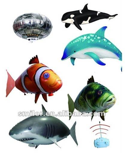 Air swimmers rc inflatable giant fish helium balloon rc for Air swimming fish