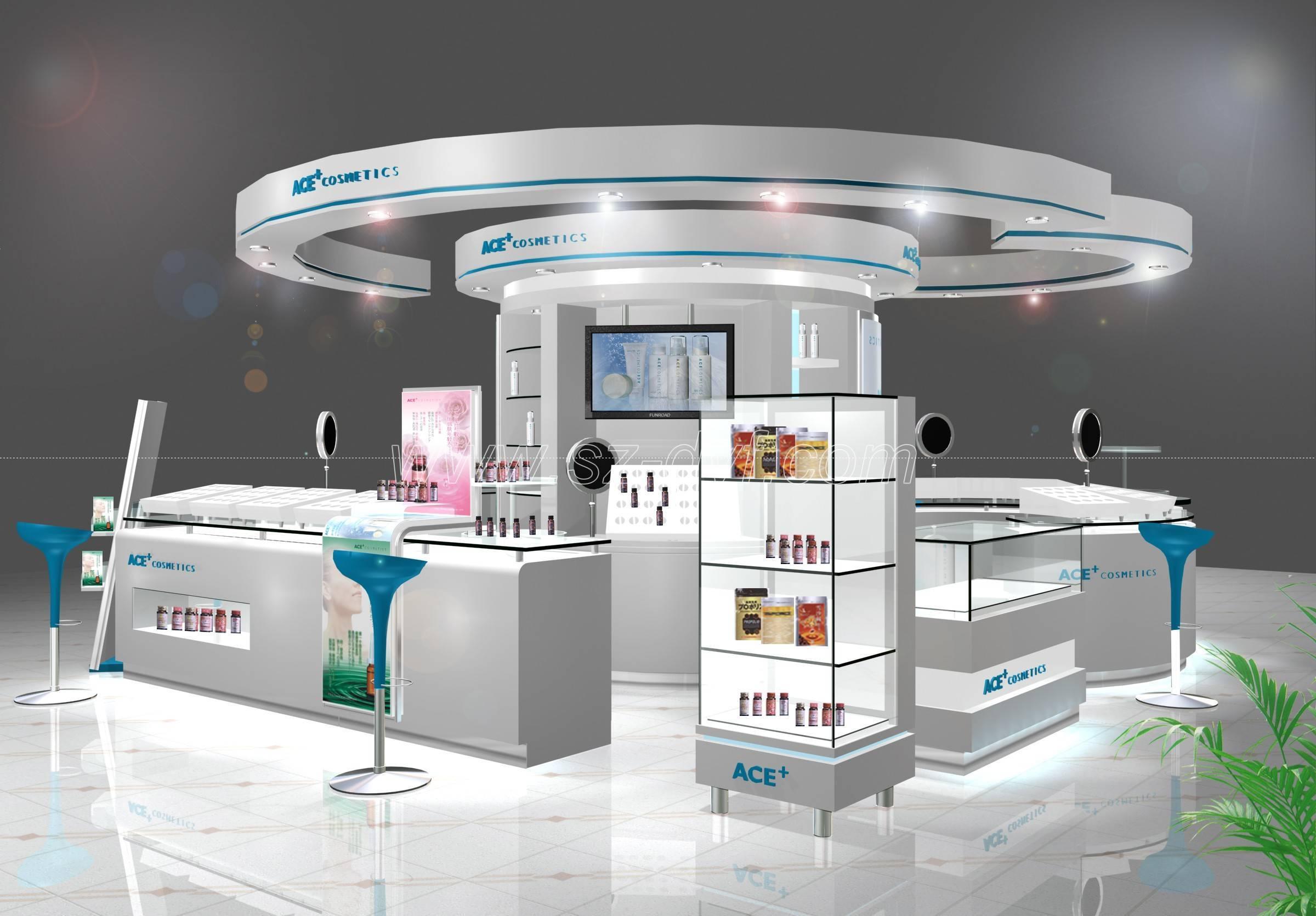 Exhibition Display Stands : Cosmetics display showcase kiosk stand shenzhen