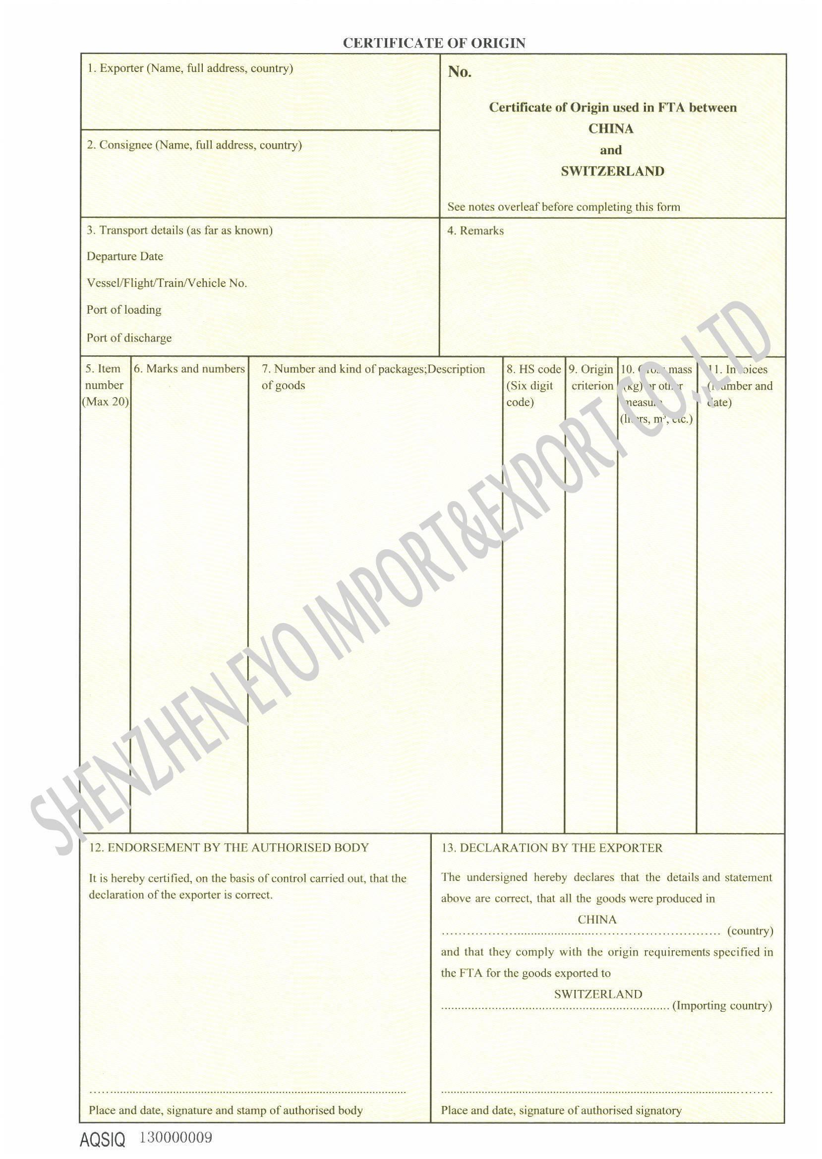 Certificate Of Origin blank mco u0027s for a vessel u2022 buy – Certificate of Origin Template Free