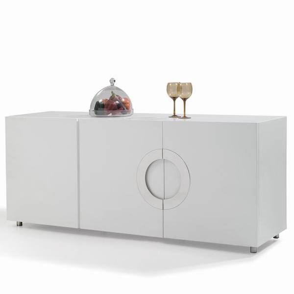Modanuvo White Black Gloss Oak Extending Storage Coffee: High Gloss White Lacquer Wooden Sideboard Cabinet Buffet