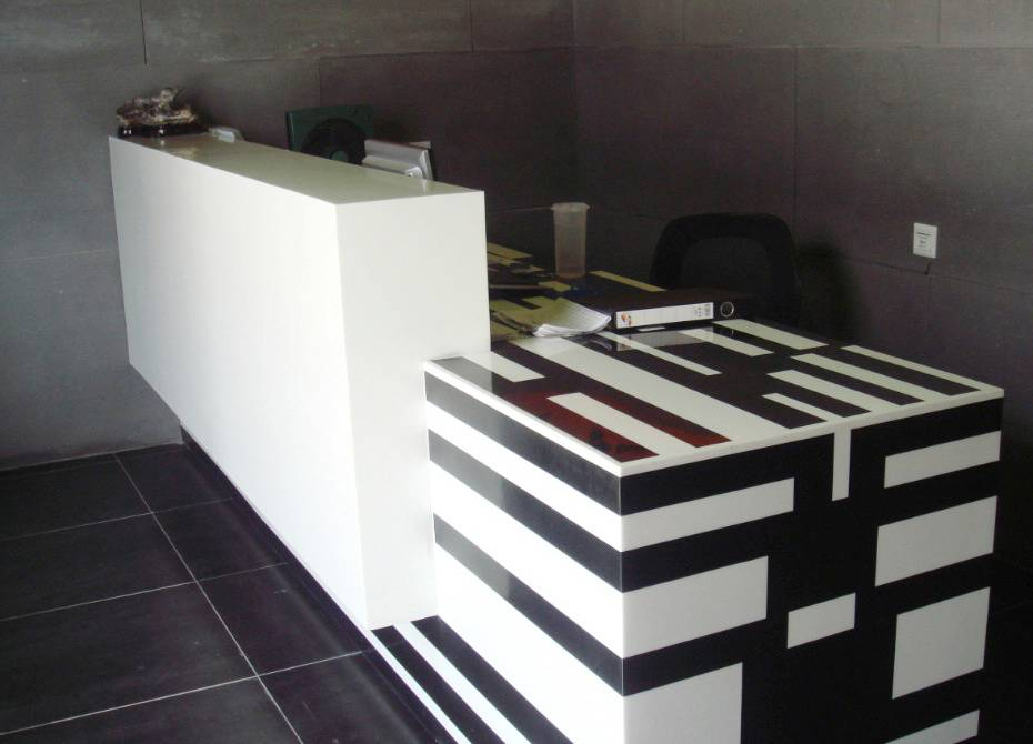TW Modern Commercial office reception desk - Tell World Solid Surface
