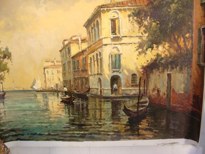 Beautiful landscape building oil painting on canvas for Artworks landscape ltd
