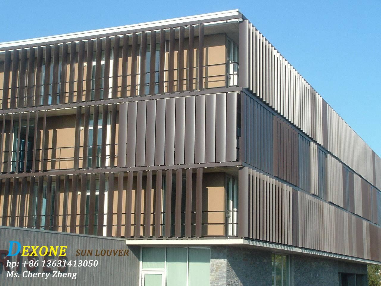 Curtain Wall Louvers : Aerofoil aluminum louvers sun shading sunshades